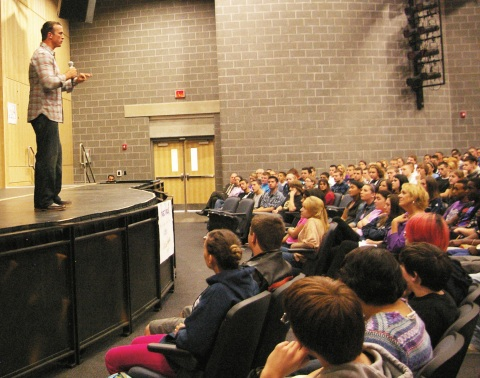 Chris Herren captivated RHS students with his life story aimed at showing the horrific effects of addiction.