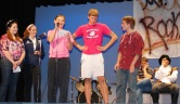 Brianna Novio and Shannon Gray read the improv directions to Kevin Strobel and Joe Palana.