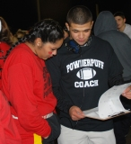 Alex Mejia and Angelica Calderon go over the seniors' game plan.