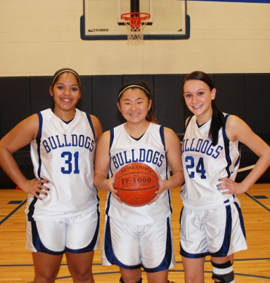 Angelica Calderon, Leah O'Bryan and Alex Reyno, senior captains of the 2012-13 Lady Bulldogs
