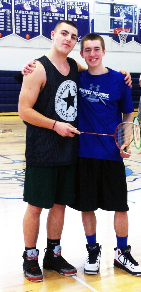 Billy Brady and Sean Roche are the champions of this year's badminton tournament     photo by Dawn Bille