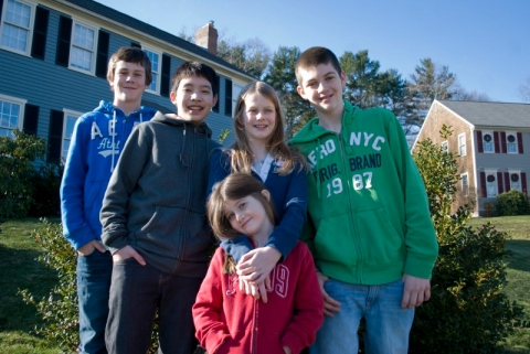 The Glennon Family includes John, Grade 9, Aiden, Grade 7, Laura Grade 5 and Regan 6 yrs. old along with Copter, Grade 11!