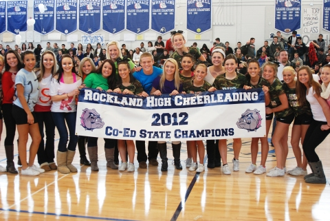 RHS cheerleaders were presented with their State Championship banner!