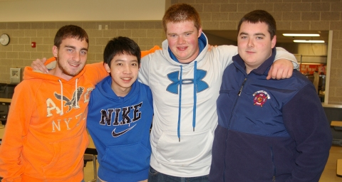 Copter, exchange student from Thailand, has made many friends at RHS including Andrew Scheim, Ethan Rooney and Kenny DeWolfe