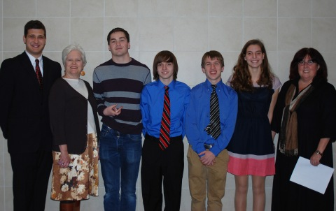Last year's Poetry Out Loud Contest: Chris Carchedi, Mrs. Amy Woodward, Pearse McNally, P. J. Butler, Joseph Palana, Lilly Margolis