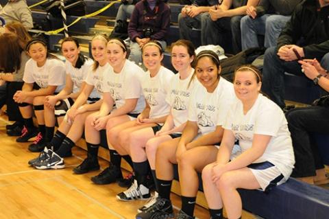 Girls basketball seniors are left to right: Leah O'Bryan, Alex Reyno, Kayla Meech, Sarah Royle, Jill Krish, Bailey Olsen, Angelica Calderon and Kaylee Killion.