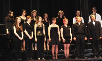 "The RHS Chorus sang ""All That Jazz."" Back left to right are Kaylea-Rose O'Haire, Molly McLellan, Leah DeCecco, Ella Engle, Charis Nelson, Ian Haas and Dan Phipps. Front left to right: Elizabeth Byron, Erika Wiley, Haley Bent, Olivia Olsen, Jace Williams, Jason Kinan, and Justin Ferullo."