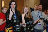 Devin Gilmore, Molly Garrity along with Mr. Rowe show their excitement to have preformed with Adam Lambert (Brian Leonard).