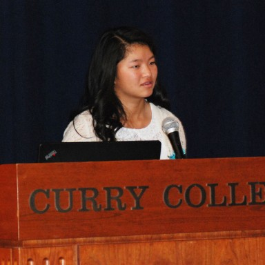 Meghan Khang, sophomore at RHS spoke about her golfing success at the Leadership Conference on Tuesday, March 12