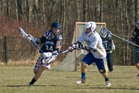 Rockland's first lacrosse game against Norwell.