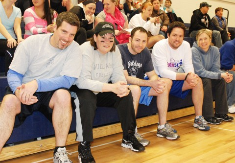 Mr. Cron, Mrs. McGonnigal, Mr. MacAllister, Mr. Johnson, and Mrs. Linehan had a great game of dodgeball.