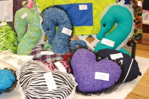 Seahorse pillows and heart shaped pillows by the Consumer Science students