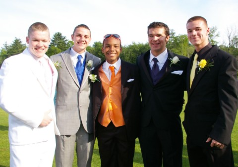 Conley Sharland, Ryan Totte, Jon Lindahl at Harmon Golf Club before last year's junior prom