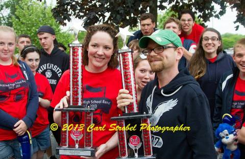Ms. Hartnett and Mr. Harden with first place trophies