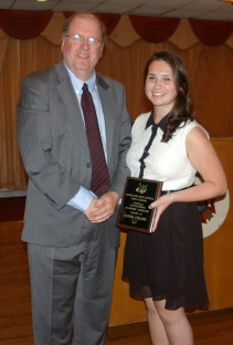Superintendent of Schools, Mr. Retchless with Grade 10 Overall Outstanding Achiever, Alyssa Collins.