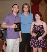 Ms. Wozniak presents Caitlin Hedges and Kevin Levesque with Academic Achievement Awards for Health.