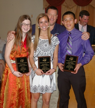 Math teacher, Mr. Damon, presented Erika Wiley, Katherine Delorey and Justin Nguyen with the Academic Achievement Award for Mathematics.