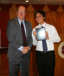 Superintendent of Schools, Mr. Retchless with Grade 11 Overall Academic Achiever, Jonathan Soo Hoo.