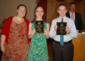 English teacher Ms. Walsh with the science award winners Kaitlyn Mott and Steven Sherock