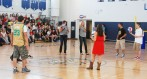 Students of all grades participated in the volleyball challenge.