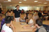 Mentor Lilly Margolis meets with her group of freshmen at the first meeting on September 11.