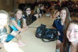 Mentor Jenna Novio (second from right) meets with a group of freshmen at their first meeting on September 11.
