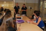Mentors Danielle Whitcher and Kara Penny meet with a group of freshmen at the first meeting on September 11.