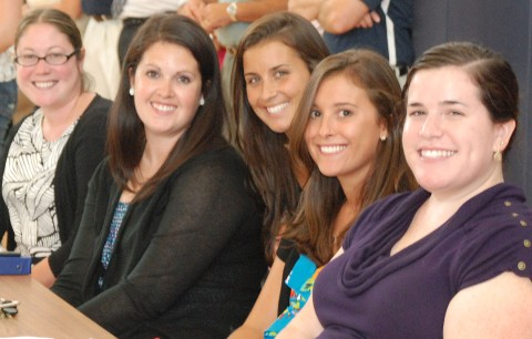 Five new teachers were introduced to the student body at the first rally of the year.