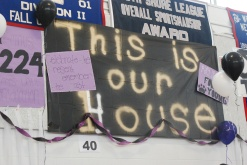 "The senior banner. ""This is our House"""