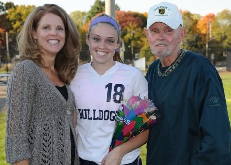 Kelsey Daggett with her mom Kathleen and her grandad, Pup.