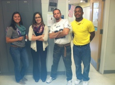 Ms. Amanda Lanigan, Rachael Spinney, Mr. Rich MacAllister, and Leshon Crawford pair up for Student/Teacher Swap Day!