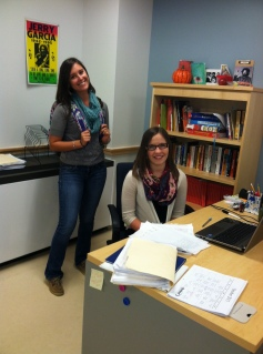 Ms. Amanda Lanigan and Rachael Spinney swap for Student/Teacher Swap Day.