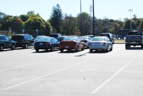 Parking spaces available at 11 am on a recent school day.  Photo by Devin Gilmore