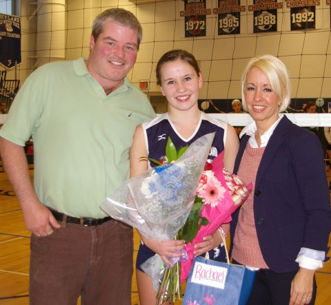 Senior Rachael Spinney with her parents Mike Spinney and Toni Marrese.