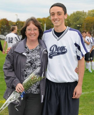 Ryan Johnston and his mother.