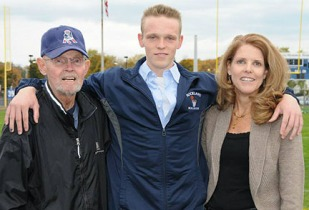 """Tim Daggett with his mom, Kathy and grandfather, """"Pup""""."""