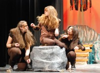 The monkeys, played (left to right) by Rebecca Portela, Catherine Crocker and Brittiana Garcia are in the thick of the action.