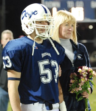 Senior captain Joe Rizzotto and his mom.