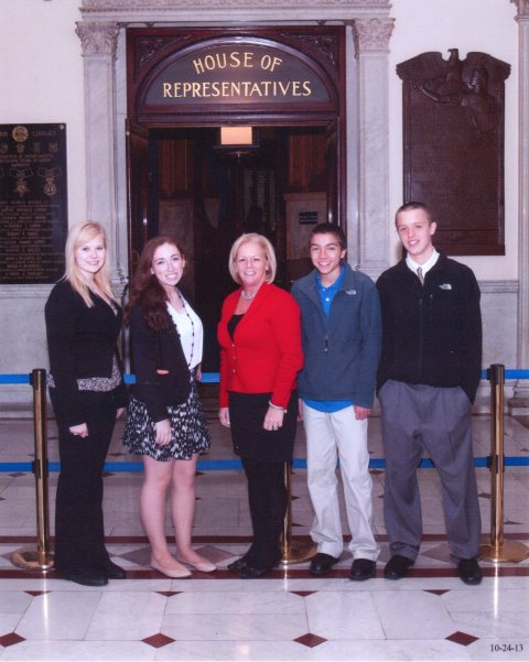 RHS students left to right: Meghan Foster, Ashley Pezzella, Ryan Sugrue, and Ryan Palmer at the State House for Job Shadowing with State Representative Rhonda Nyman.