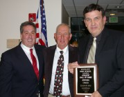 Steve Owen, right, was presented with his Hall of Fame plaque by former RHS basketball coach Bob Fisher. Fisher outlined Owen's outstanding abilities and leadership bringing the team to the state championship in 1972. Fisher also described Owen as the best rebounder in RHS history with 1021 rebounds in his high school career.