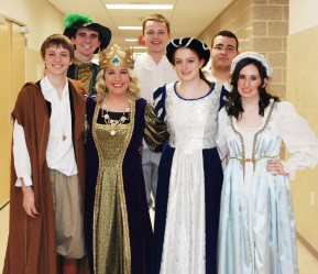 Left to right: P.J. Butler, Brian Leonard, Jackie Carlson, Bob Gasdia, Ella Engle, Jean DeSilva and Nicole Cook, the cast of As You Like It