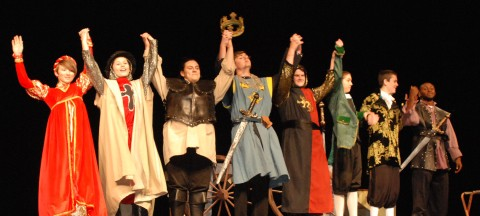 The cast of Henry V take their bows: Danielle Hill, Lisa Howes, Christianne Daley, Pearse McNally, Chris Landy, Ryan Sugrue and John Kamande.