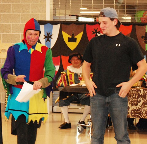 """Mr. Bigsby and Joe Rizzotto play the game """"Bard or Bulldog"""" on Saturday night at the Shakespeare Festival"""