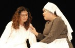 Georgia Panagiotidis plays the Nurse tries to comfort Genesis Rojas as Juliet