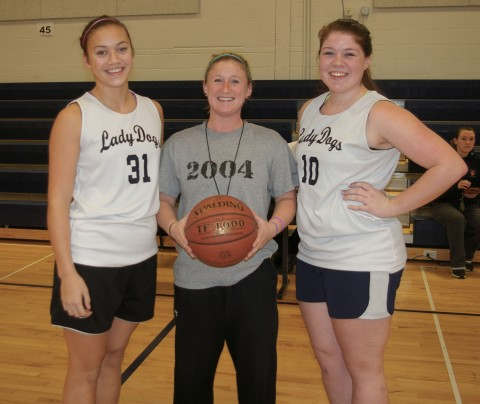 Kyra Rose, Ally Cerrato and Coach Mitchell are looking forward to playing rival Hanover High School tonight!