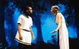 Leshon Crawford as Lysander and Lilly Margolis as Helena.