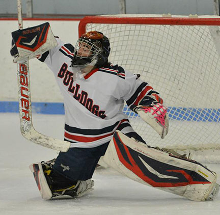 Trevor Trudeau makes a save.  Photo from Rockland High School Sports
