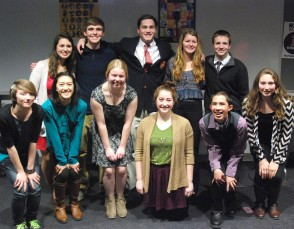 The following eleven participated in Poetry Out Loud on January 29. Back, left to right: Alyssa Collins, Brian Leonard, Pearse McNally, Molly Garrity and PJ Butler. Front: Danielle Hill, Vivian Nguyen, Victoria Pratt, Marina McCauley, Sean Vo and Hannah Millen.