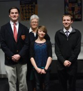 Left to right: Pearse McNally, Mrs. Woodward, Danielle Hill and PJ Butler were judged in the top three in the Poetry Out Loud competition with Hill placing first, Butler, second and McNally third. Congratualtions to all.