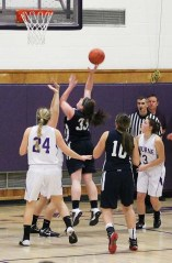 Ally Cerrato puts up a shot against Bourne. Ally closed out her RHS career with a 20 point game. photo by Mrs. Patton
